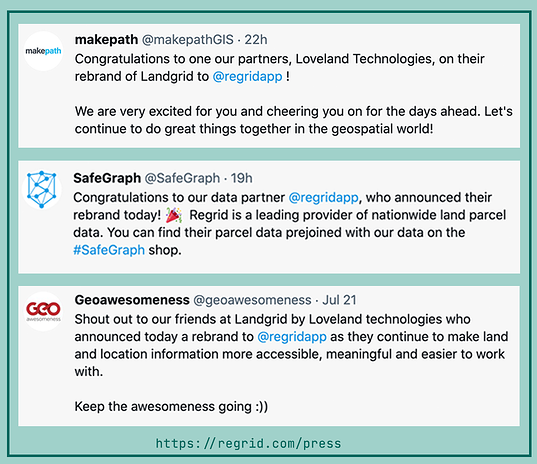 Testimonials from makepath, safegraph and geoawesomeness